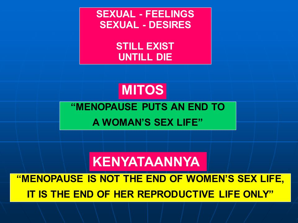 """SEXUAL - FEELINGS SEXUAL - DESIRES STILL EXIST UNTILL DIE """"MENOPAUSE IS NOT THE END OF WOMEN'S SEX LIFE, IT IS THE END OF HER REPRODUCTIVE LIFE ONLY"""""""