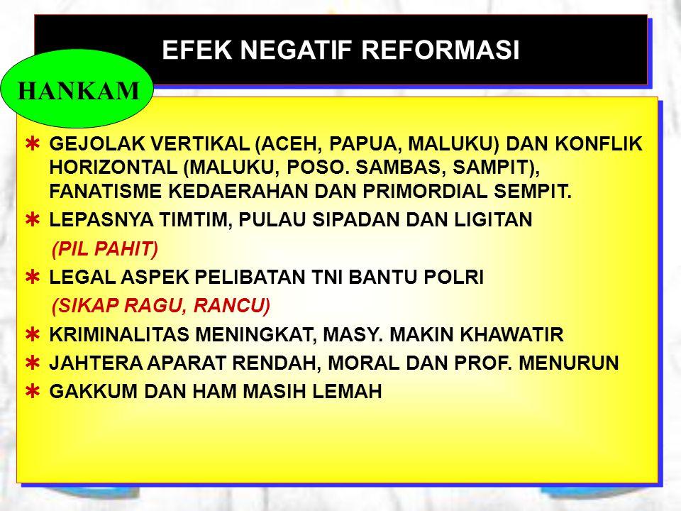 EFEK NEGATIF REFORMASI  GEJOLAK VERTIKAL (ACEH, PAPUA, MALUKU) DAN KONFLIK HORIZONTAL (MALUKU, POSO. SAMBAS, SAMPIT), FANATISME KEDAERAHAN DAN PRIMOR