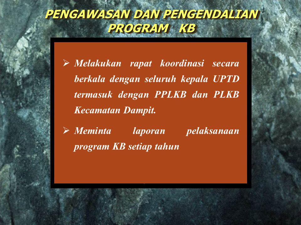  Melakukan rapat koordinasi secara berkala dengan seluruh kepala UPTD termasuk dengan PPLKB dan PLKB Kecamatan Dampit.  Meminta laporan pelaksanaan