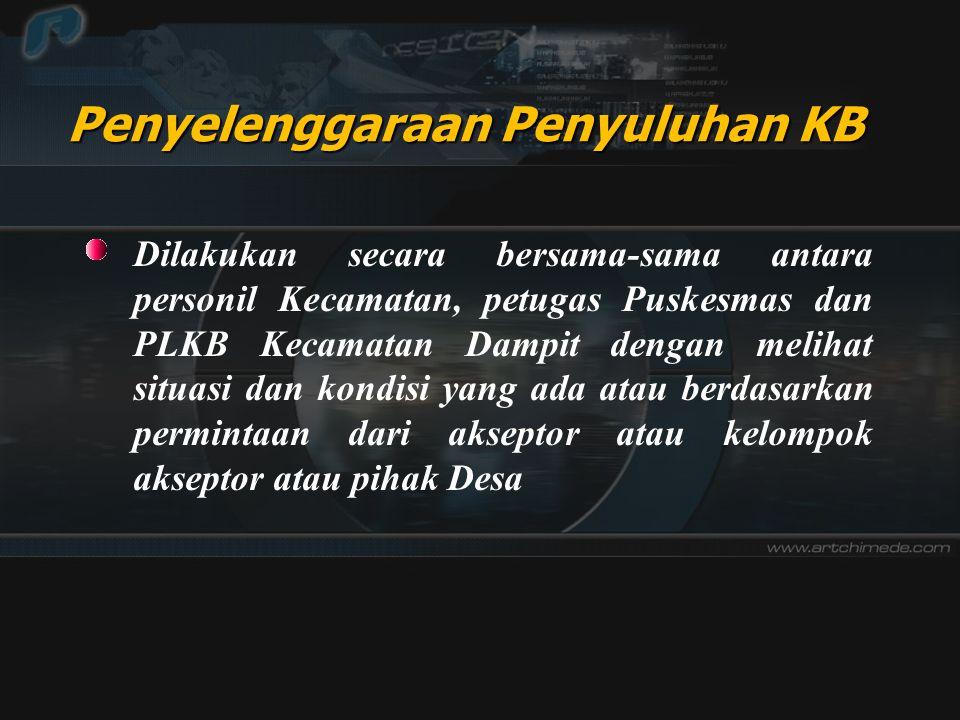 Penyelenggaraan Penyuluhan KB Dilakukan secara bersama-sama antara personil Kecamatan, petugas Puskesmas dan PLKB Kecamatan Dampit dengan melihat situ