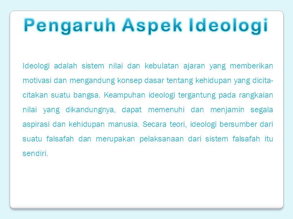 Ideologi adalah sistem nilai dan kebulatan ajaran yang memberikan motivasi dan mengandung konsep dasar tentang kehidupan yang dicita- citakan suatu ba
