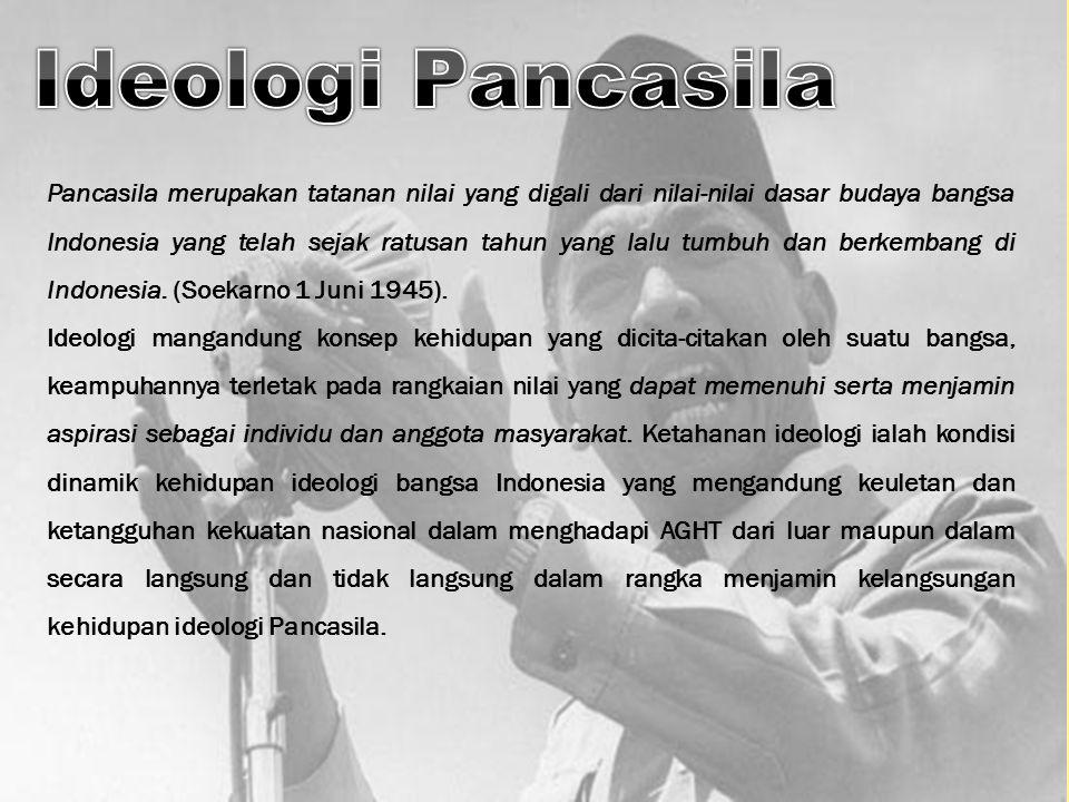 Pancasila merupakan tatanan nilai yang digali dari nilai-nilai dasar budaya bangsa Indonesia yang telah sejak ratusan tahun yang lalu tumbuh dan berke