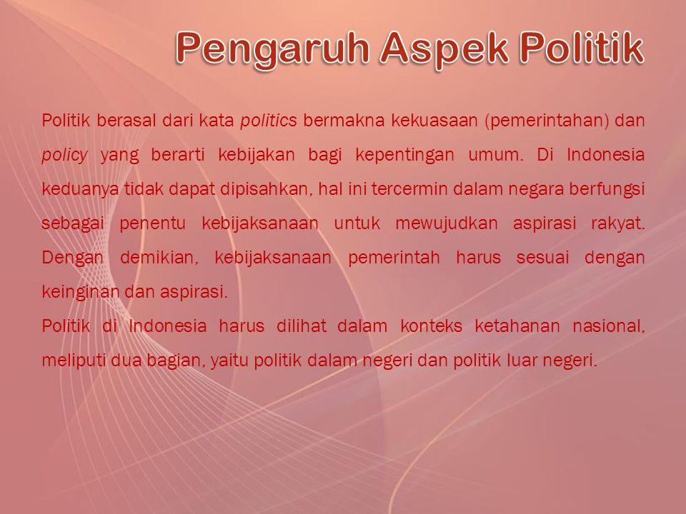 Politik berasal dari kata politics bermakna kekuasaan (pemerintahan) dan policy yang berarti kebijakan bagi kepentingan umum. Di Indonesia keduanya ti