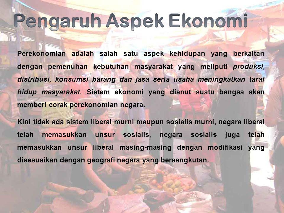 Perekonomian adalah salah satu aspek kehidupan yang berkaitan dengan pemenuhan kebutuhan masyarakat yang meliputi produksi, distribusi, konsumsi baran