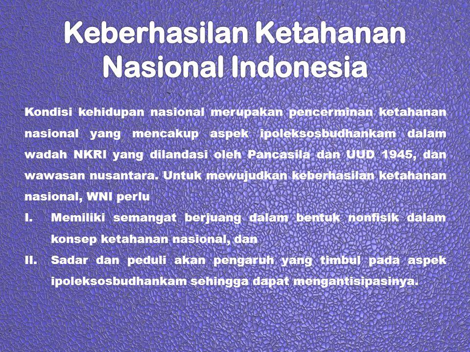Kondisi kehidupan nasional merupakan pencerminan ketahanan nasional yang mencakup aspek ipoleksosbudhankam dalam wadah NKRI yang dilandasi oleh Pancas