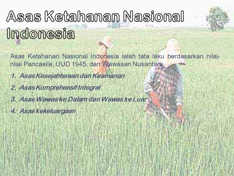 Asas Ketahanan Nasional Indonesia ialah tata laku berdasarkan nilai- nilai Pancasila, UUD 1945, dan Wawasan Nusantara. 1.Asas Kesejahteraan dan Keaman