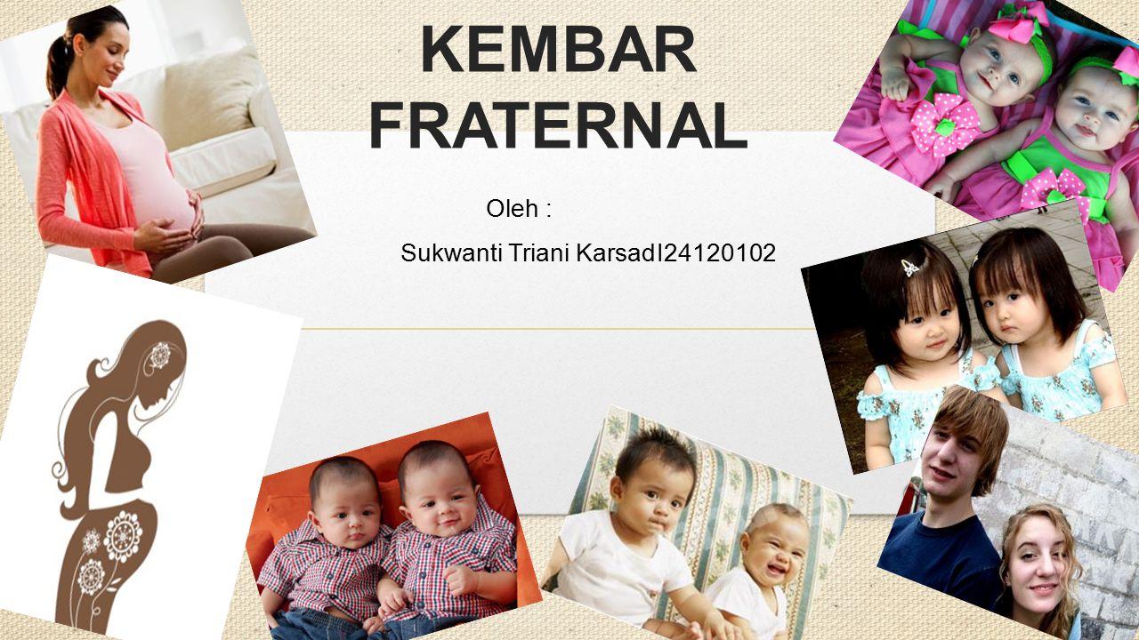 KEMBAR IDENTIK DAN KEMBAR FRATERNAL Oleh : Sukwanti Triani KarsadI24120102