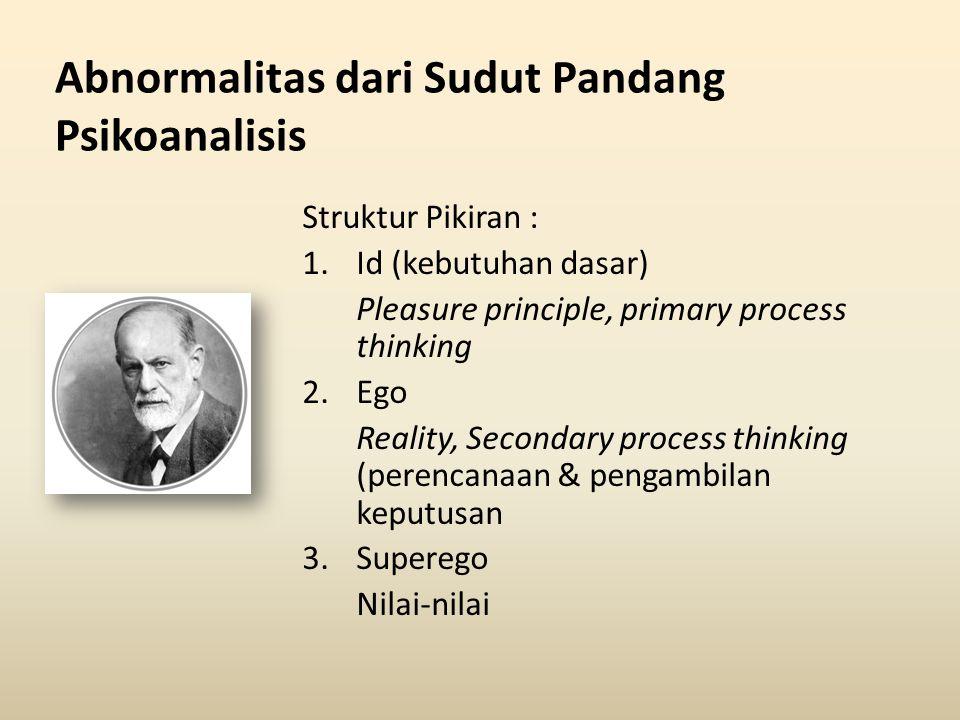 Abnormalitas dari Sudut Pandang Psikoanalisis Struktur Pikiran : 1.Id (kebutuhan dasar) Pleasure principle, primary process thinking 2.Ego Reality, Se