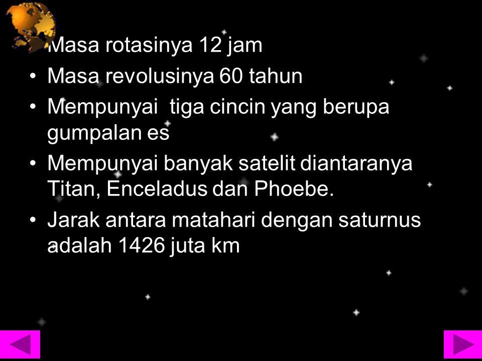 Masa rotasinya 12 jam Masa revolusinya 60 tahun Mempunyai tiga cincin yang berupa gumpalan es Mempunyai banyak satelit diantaranya Titan, Enceladus da