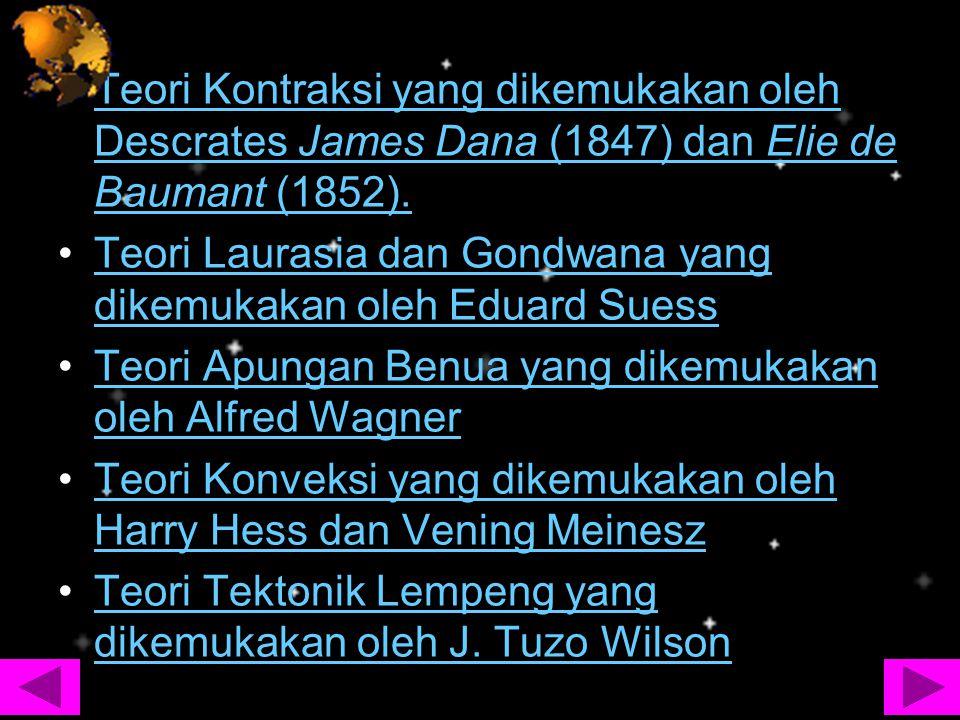 Teori Kontraksi yang dikemukakan oleh Descrates James Dana (1847) dan Elie de Baumant (1852).Teori Kontraksi yang dikemukakan oleh Descrates James Dan
