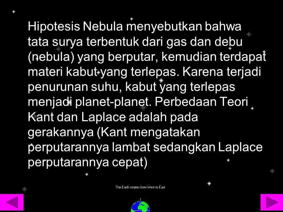 Hipotesis Nebula menyebutkan bahwa tata surya terbentuk dari gas dan debu (nebula) yang berputar, kemudian terdapat materi kabut yang terlepas. Karena