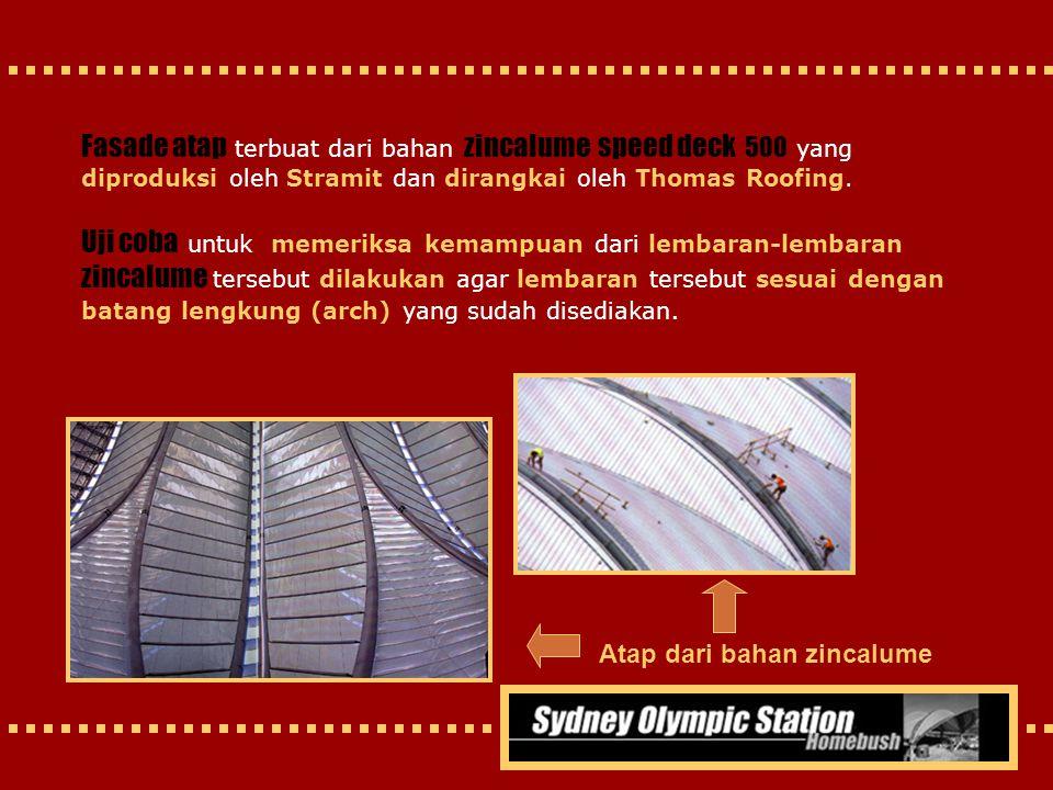 Fasade atap terbuat dari bahan zincalume speed deck 500 yang diproduksi oleh Stramit dan dirangkai oleh Thomas Roofing. Uji coba untuk memeriksa kemam