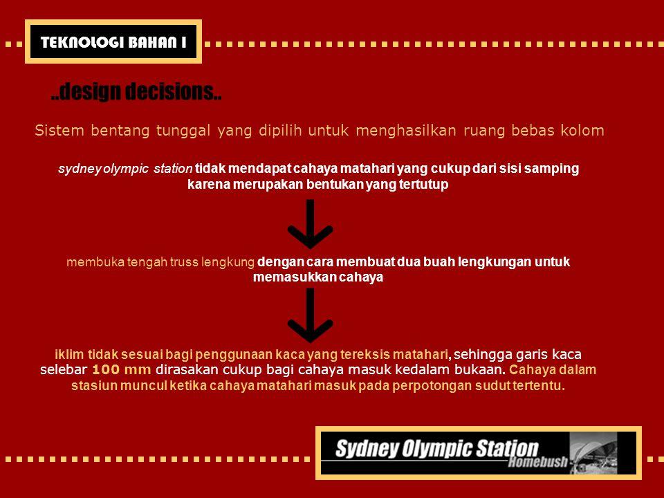..design decisions.. Sistem bentang tunggal yang dipilih untuk menghasilkan ruang bebas kolom sydney olympic station tidak mendapat cahaya matahari ya