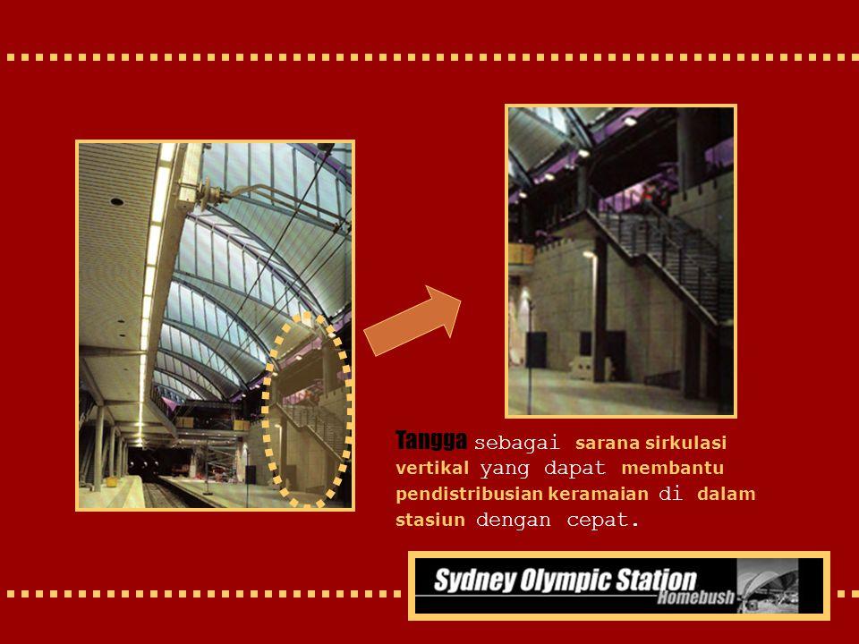 Tangga sebagai sarana sirkulasi vertikal yang dapat membantu pendistribusian keramaian di dalam stasiun dengan cepat.