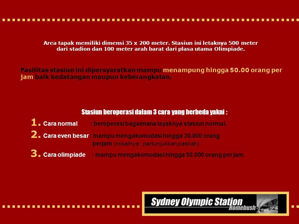 Area tapak memiliki dimensi 35 x 200 meter. Stasiun ini letaknya 500 meter dari stadion dan 100 meter arah barat dari plasa utama Olimpiade. Stasiun b