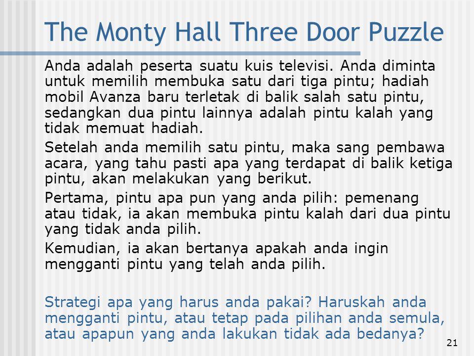 21 The Monty Hall Three Door Puzzle Anda adalah peserta suatu kuis televisi. Anda diminta untuk memilih membuka satu dari tiga pintu; hadiah mobil Ava