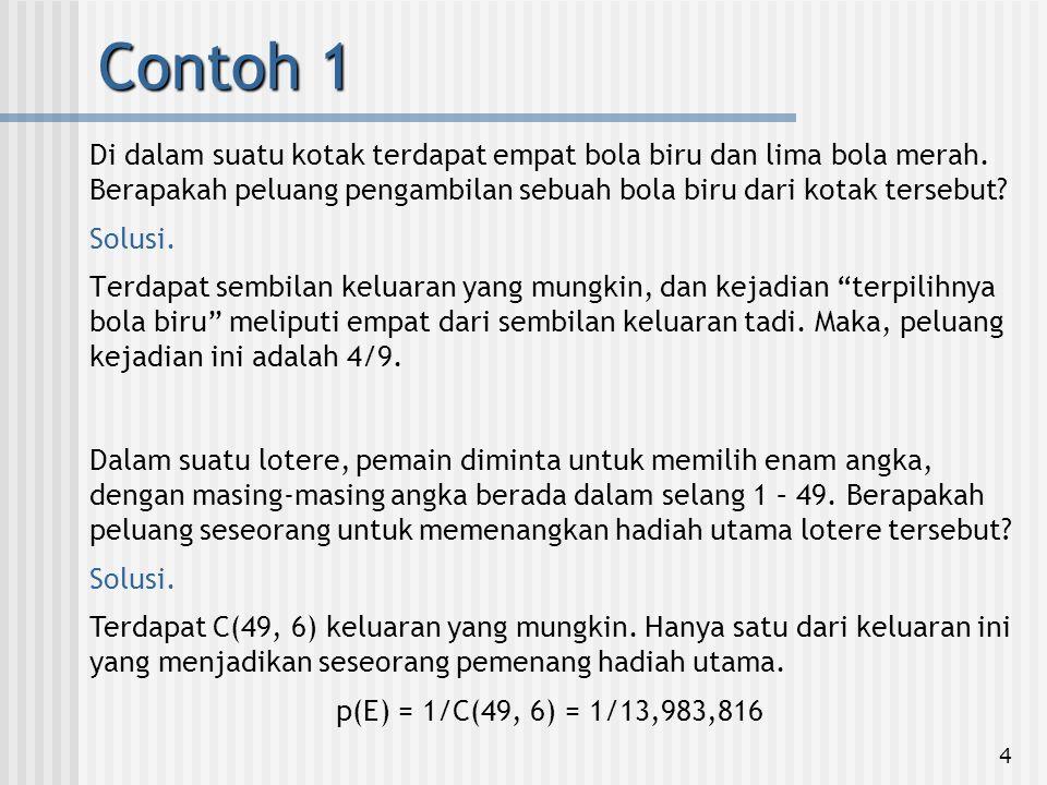 15 Misalkan S={1,2,…,20}.Anda memilih sebuah subhimpunan TS dengan 3 anggota.