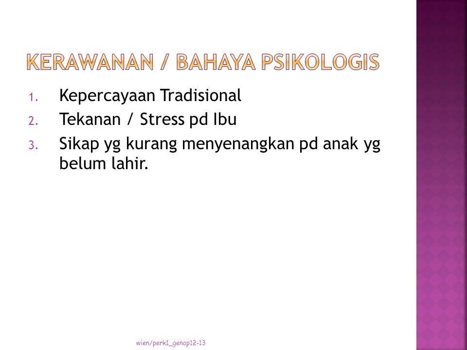 1. Kepercayaan Tradisional 2. Tekanan / Stress pd Ibu 3.