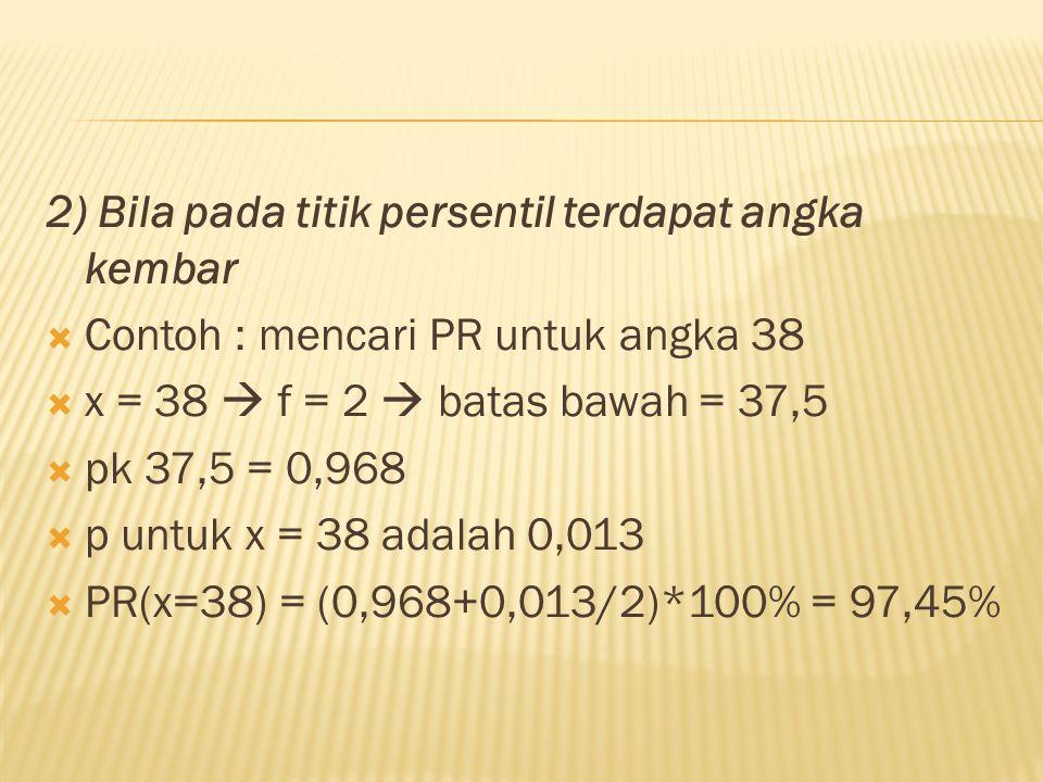 2) Bila pada titik persentil terdapat angka kembar  Contoh : mencari PR untuk angka 38  x = 38  f = 2  batas bawah = 37,5  pk 37,5 = 0,968  p un