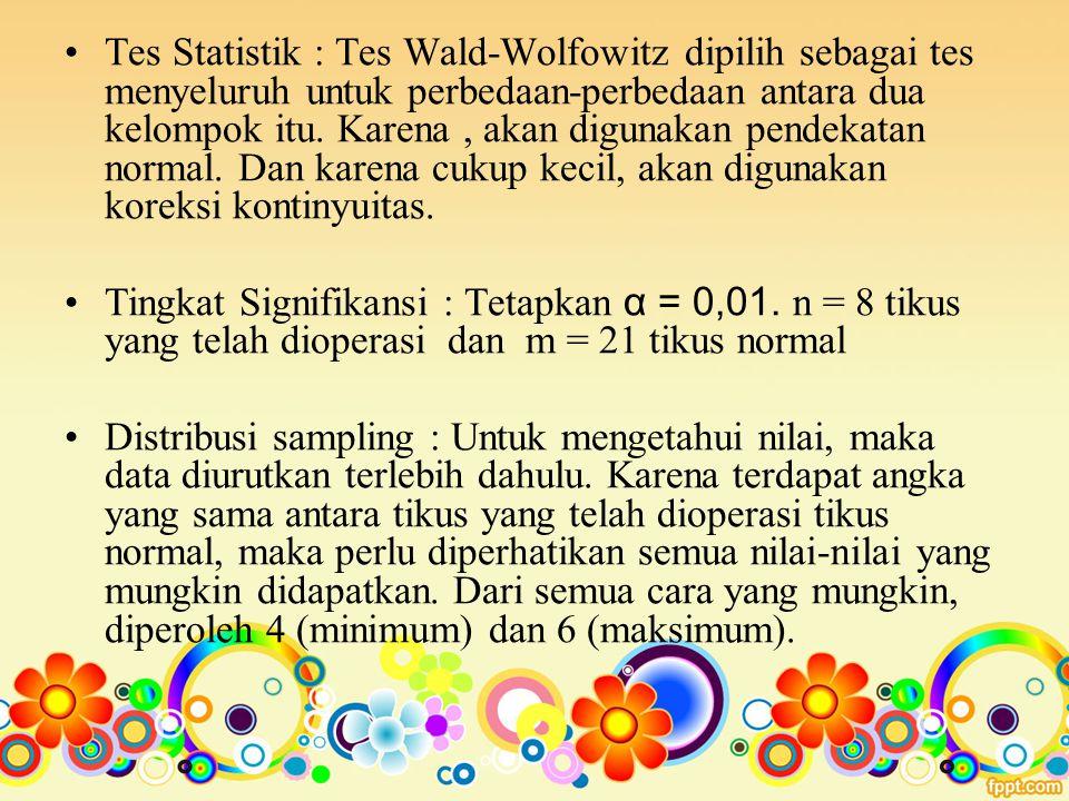 Tes Statistik : Tes Wald-Wolfowitz dipilih sebagai tes menyeluruh untuk perbedaan-perbedaan antara dua kelompok itu. Karena, akan digunakan pendekatan