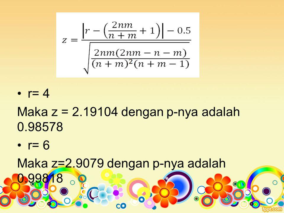r= 4 Maka z = 2.19104 dengan p-nya adalah 0.98578 r= 6 Maka z=2.9079 dengan p-nya adalah 0.99818