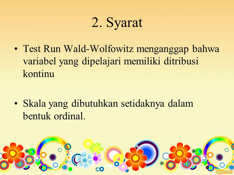 2. Syarat Test Run Wald-Wolfowitz menganggap bahwa variabel yang dipelajari memiliki ditribusi kontinu Skala yang dibutuhkan setidaknya dalam bentuk o