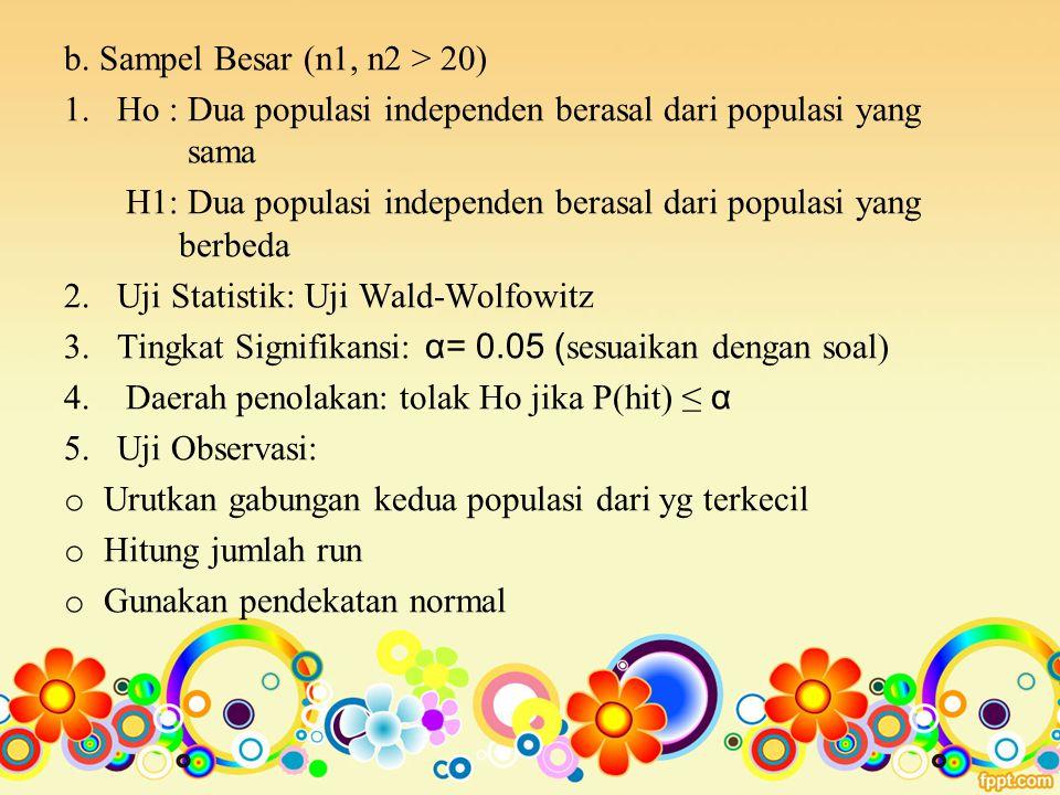 b. Sampel Besar (n1, n2 > 20) 1. Ho : Dua populasi independen berasal dari populasi yang sama H1: Dua populasi independen berasal dari populasi yang b