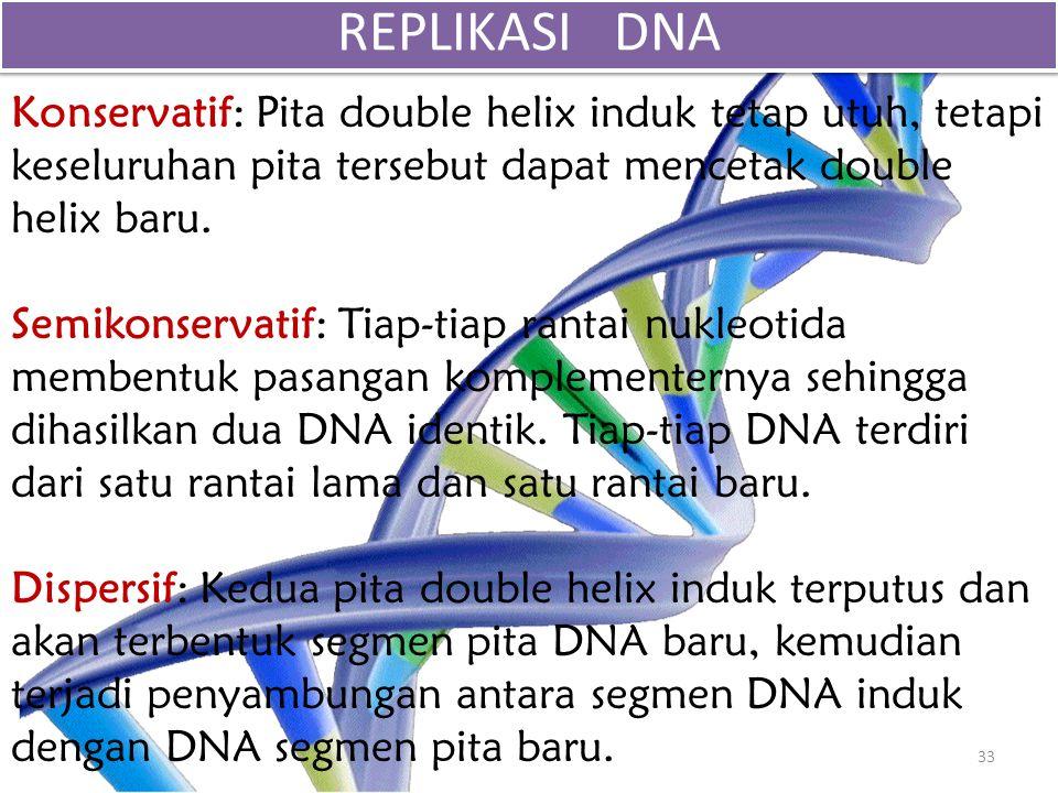 Konservatif: Pita double helix induk tetap utuh, tetapi keseluruhan pita tersebut dapat mencetak double helix baru. Semikonservatif: Tiap-tiap rantai