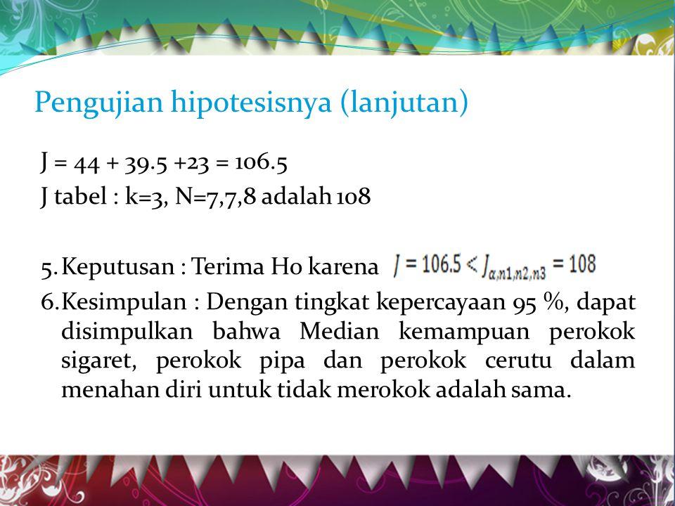 Pengujian hipotesisnya (lanjutan) J = 44 + 39.5 +23 = 106.5 J tabel : k=3, N=7,7,8 adalah 108 5.Keputusan : Terima Ho karena 6.Kesimpulan : Dengan tingkat kepercayaan 95 %, dapat disimpulkan bahwa Median kemampuan perokok sigaret, perokok pipa dan perokok cerutu dalam menahan diri untuk tidak merokok adalah sama.