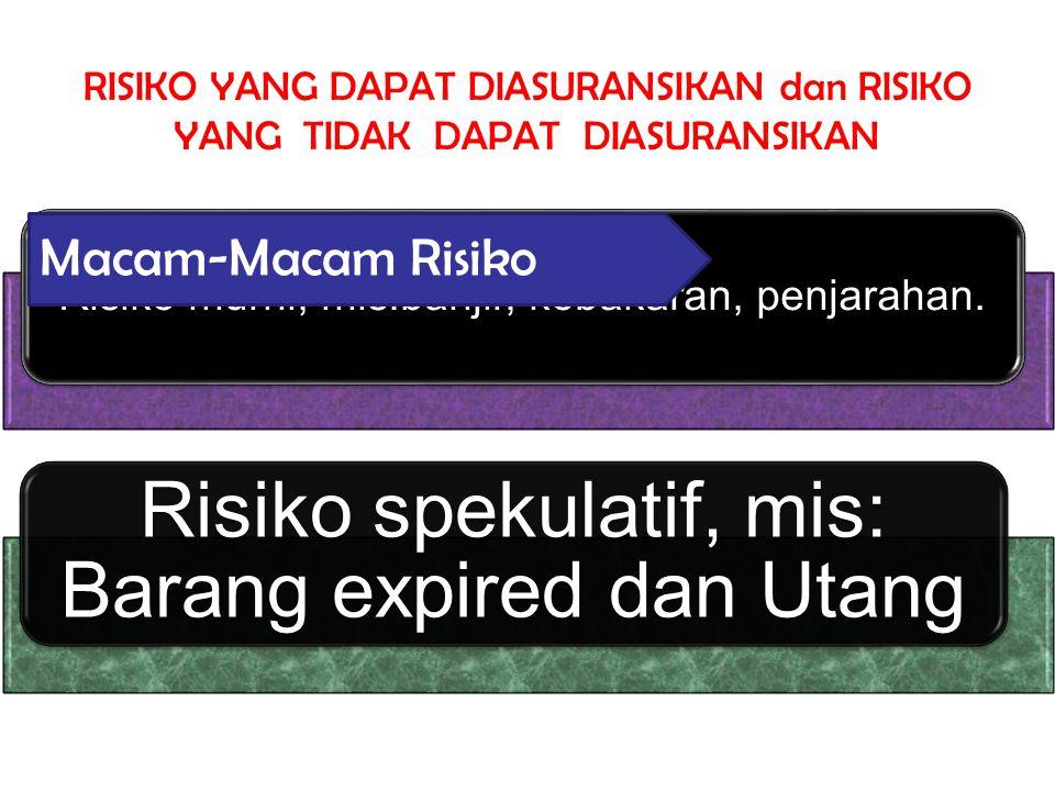 Risiko murni, mis:banjir, kebakaran, penjarahan. Risiko spekulatif, mis: Barang expired dan Utang Macam-Macam Risiko RISIKO YANG DAPAT DIASURANSIKAN d