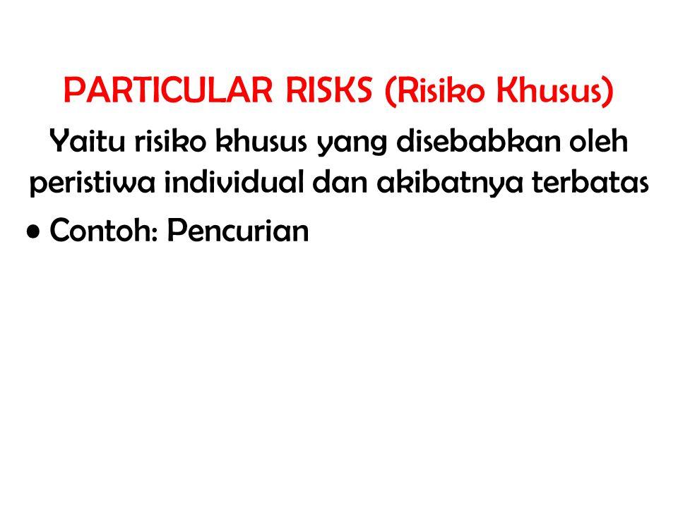PARTICULAR RISKS (Risiko Khusus) Yaitu risiko khusus yang disebabkan oleh peristiwa individual dan akibatnya terbatas Contoh: Pencurian