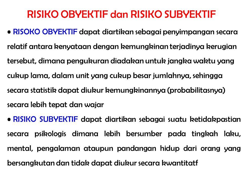 RISIKO OBYEKTIF dan RISIKO SUBYEKTIF RISOKO OBYEKTIF dapat diartikan sebagai penyimpangan secara relatif antara kenyataan dengan kemungkinan terjadiny
