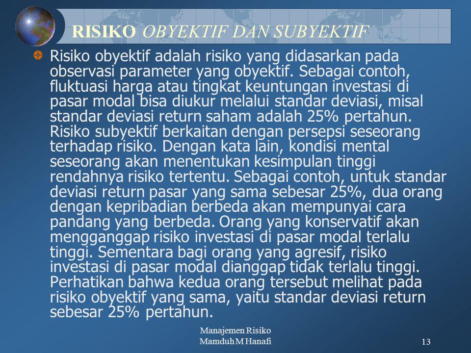 Manajemen Risiko Mamduh M Hanafi13 RISIKO OBYEKTIF DAN SUBYEKTIF Risiko obyektif adalah risiko yang didasarkan pada observasi parameter yang obyektif.