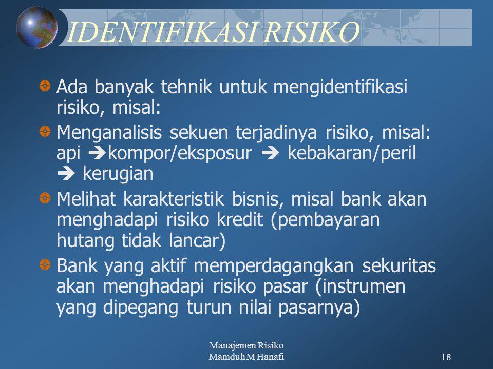 Manajemen Risiko Mamduh M Hanafi18 IDENTIFIKASI RISIKO Ada banyak tehnik untuk mengidentifikasi risiko, misal: Menganalisis sekuen terjadinya risiko, misal: api  kompor/eksposur  kebakaran/peril  kerugian Melihat karakteristik bisnis, misal bank akan menghadapi risiko kredit (pembayaran hutang tidak lancar) Bank yang aktif memperdagangkan sekuritas akan menghadapi risiko pasar (instrumen yang dipegang turun nilai pasarnya)