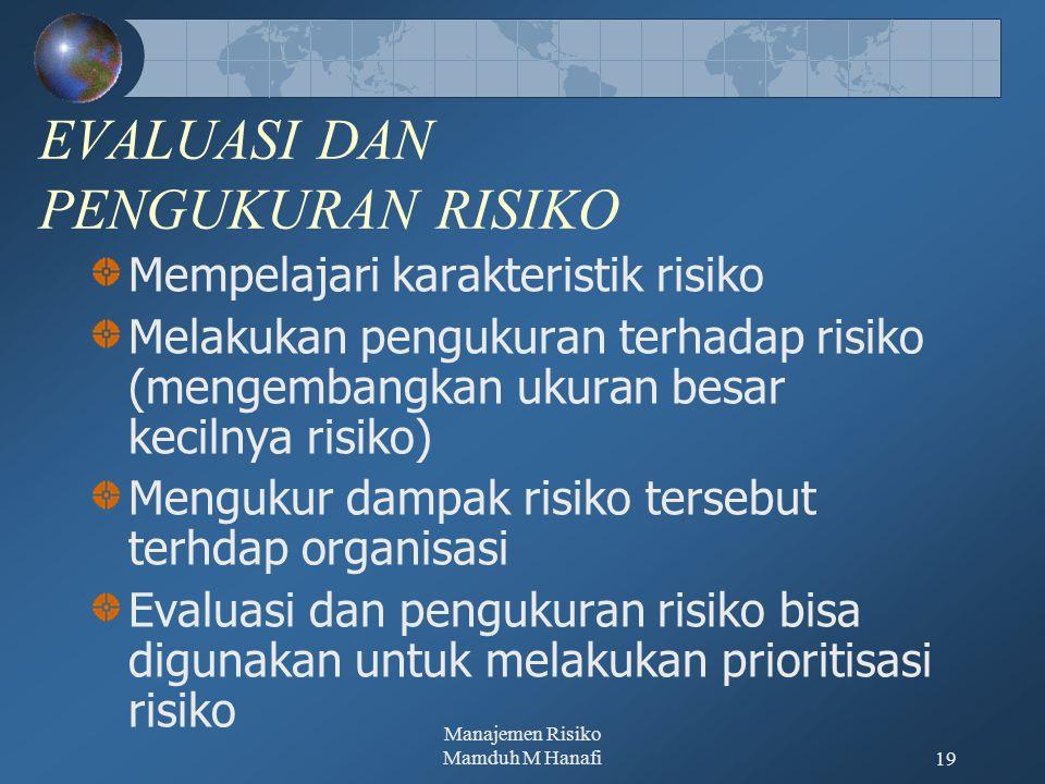 Manajemen Risiko Mamduh M Hanafi19 EVALUASI DAN PENGUKURAN RISIKO Mempelajari karakteristik risiko Melakukan pengukuran terhadap risiko (mengembangkan ukuran besar kecilnya risiko) Mengukur dampak risiko tersebut terhdap organisasi Evaluasi dan pengukuran risiko bisa digunakan untuk melakukan prioritisasi risiko