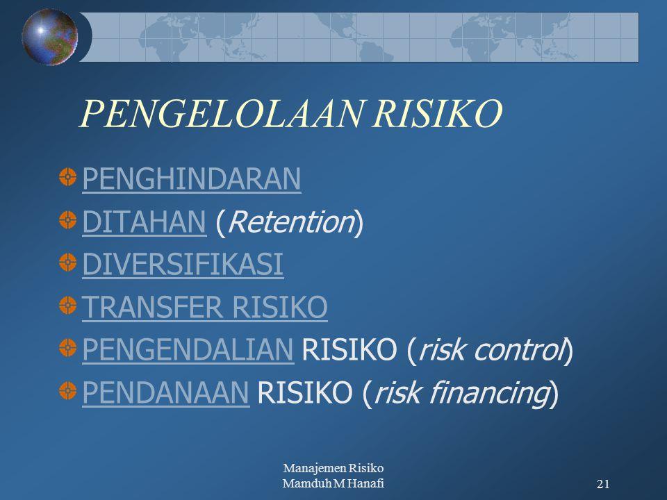 Manajemen Risiko Mamduh M Hanafi21 PENGELOLAAN RISIKO PENGHINDARAN DITAHANDITAHAN (Retention) DIVERSIFIKASI TRANSFER RISIKO PENGENDALIANPENGENDALIAN RISIKO (risk control) PENDANAANPENDANAAN RISIKO (risk financing)