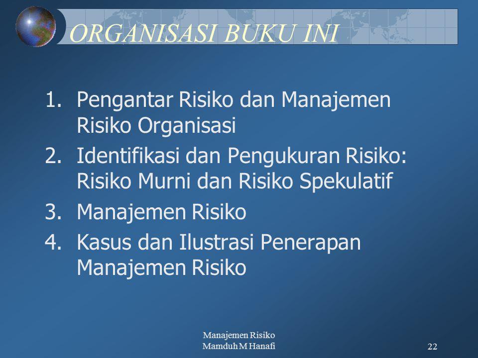 Manajemen Risiko Mamduh M Hanafi22 ORGANISASI BUKU INI 1.Pengantar Risiko dan Manajemen Risiko Organisasi 2.Identifikasi dan Pengukuran Risiko: Risiko Murni dan Risiko Spekulatif 3.Manajemen Risiko 4.Kasus dan Ilustrasi Penerapan Manajemen Risiko
