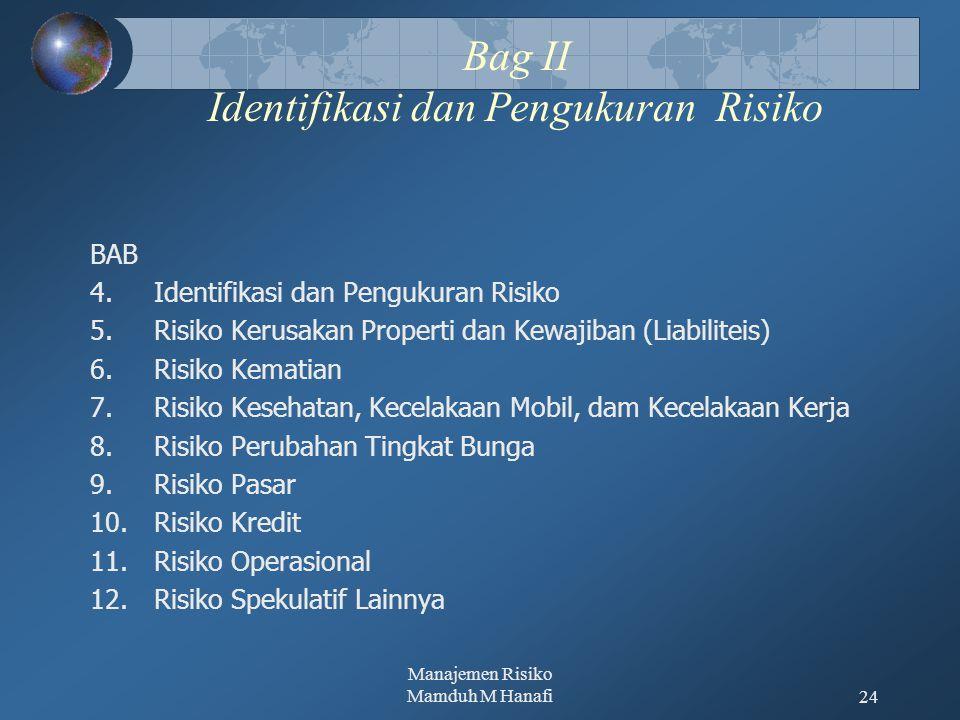 Manajemen Risiko Mamduh M Hanafi24 Bag II Identifikasi dan Pengukuran Risiko BAB 4.Identifikasi dan Pengukuran Risiko 5.Risiko Kerusakan Properti dan