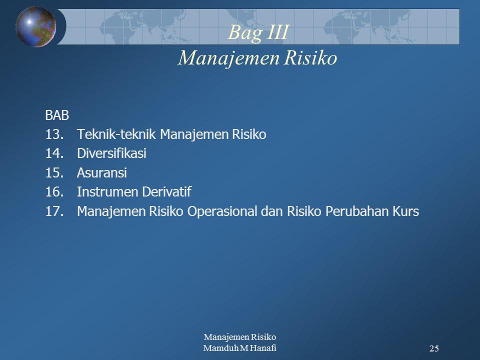 Manajemen Risiko Mamduh M Hanafi25 Bag III Manajemen Risiko BAB 13.Teknik-teknik Manajemen Risiko 14.Diversifikasi 15.Asuransi 16.Instrumen Derivatif