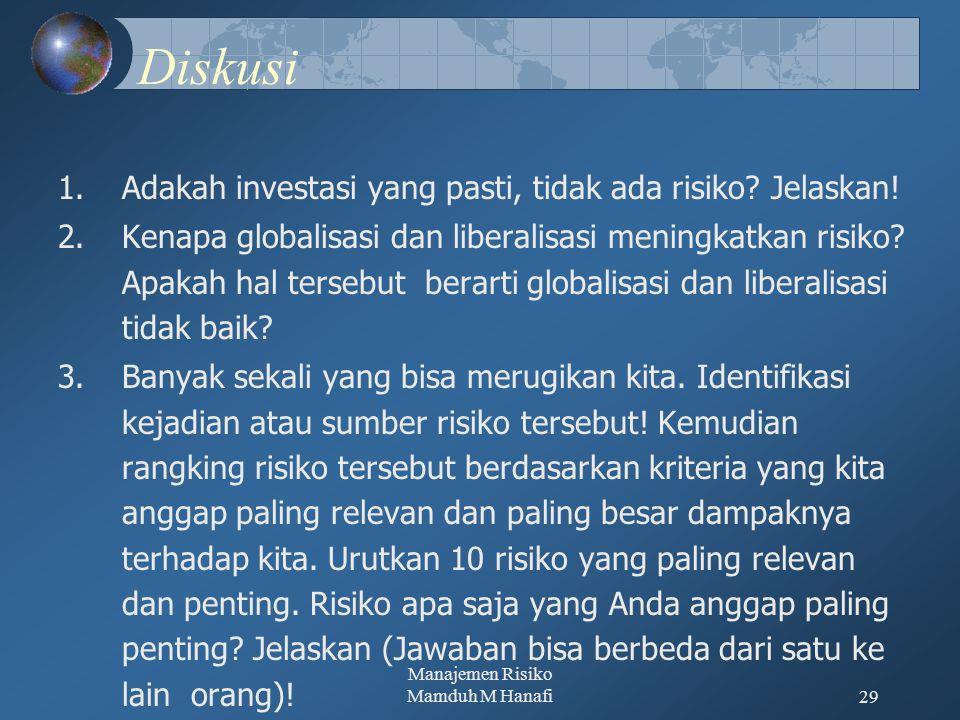Manajemen Risiko Mamduh M Hanafi29 Diskusi 1.Adakah investasi yang pasti, tidak ada risiko? Jelaskan! 2.Kenapa globalisasi dan liberalisasi meningkatk