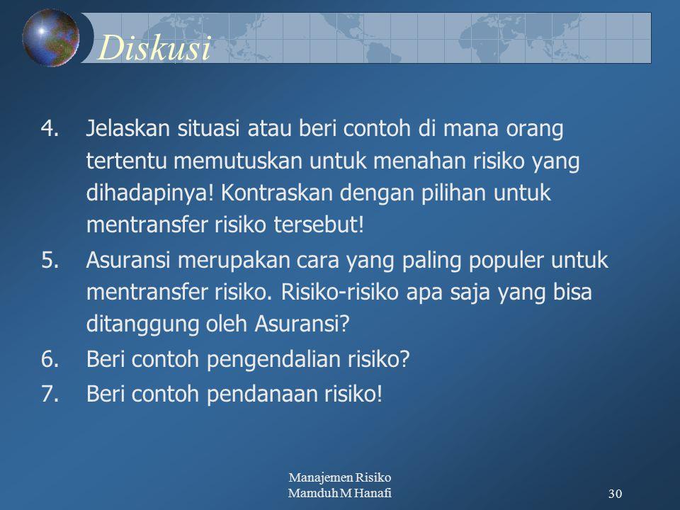 Manajemen Risiko Mamduh M Hanafi30 Diskusi 4.Jelaskan situasi atau beri contoh di mana orang tertentu memutuskan untuk menahan risiko yang dihadapinya.