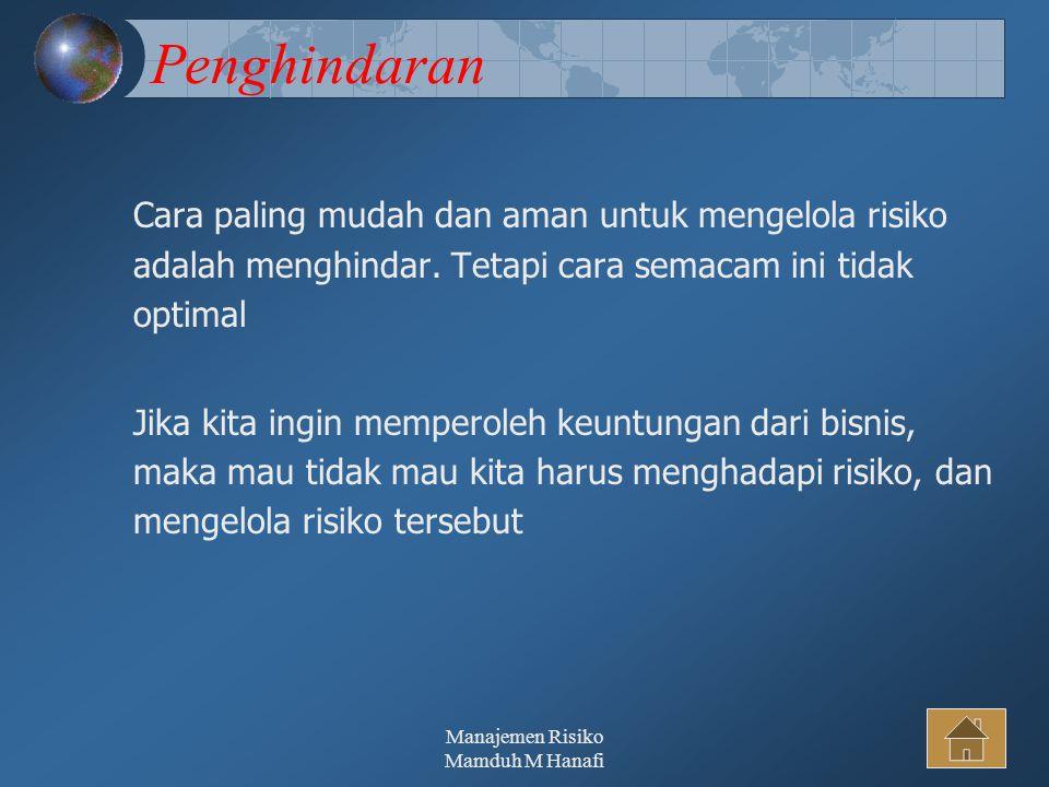 Manajemen Risiko Mamduh M Hanafi32 Penghindaran Cara paling mudah dan aman untuk mengelola risiko adalah menghindar.