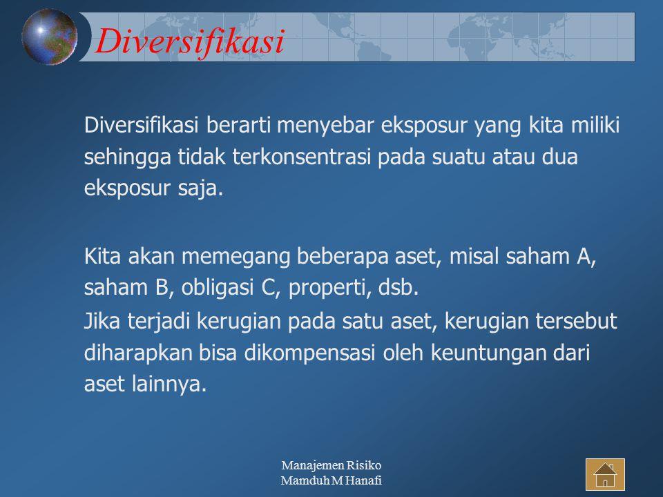 Manajemen Risiko Mamduh M Hanafi34 Diversifikasi Diversifikasi berarti menyebar eksposur yang kita miliki sehingga tidak terkonsentrasi pada suatu atau dua eksposur saja.