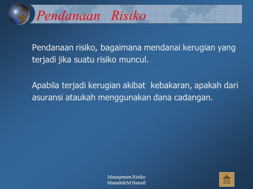 Manajemen Risiko Mamduh M Hanafi37 Pendanaan Risiko Pendanaan risiko, bagaimana mendanai kerugian yang terjadi jika suatu risiko muncul. Apabila terja