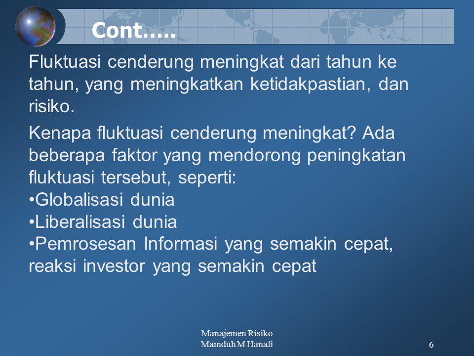 Manajemen Risiko Mamduh M Hanafi17 PROSES MANAJEMEN RISIKO Manajemen risiko pada dasarnya dilakukan melalui proses-proses berikut ini.