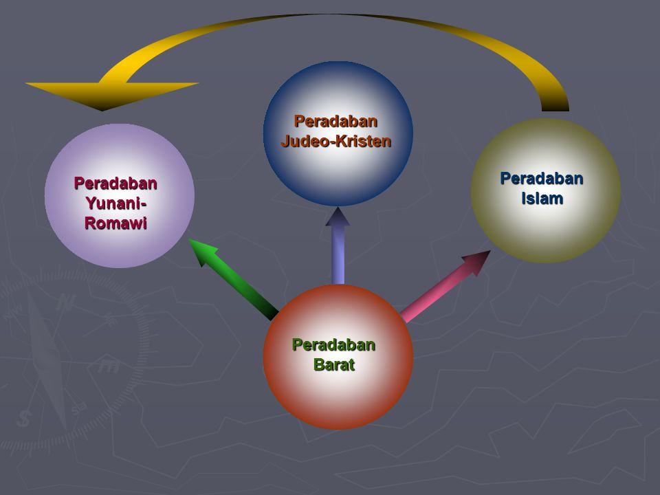 Peradaban Barat Peradaban Yunani- Romawi Peradaban Judeo-Kristen Peradaban Islam