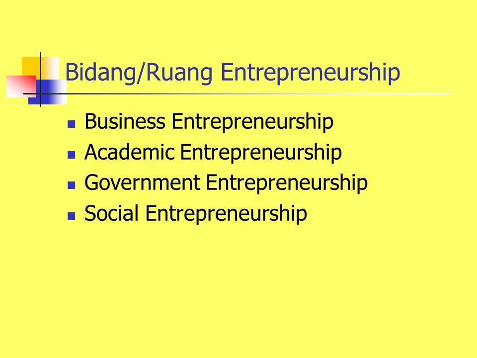 Bidang/Ruang Entrepreneurship Business Entrepreneurship Academic Entrepreneurship Government Entrepreneurship Social Entrepreneurship