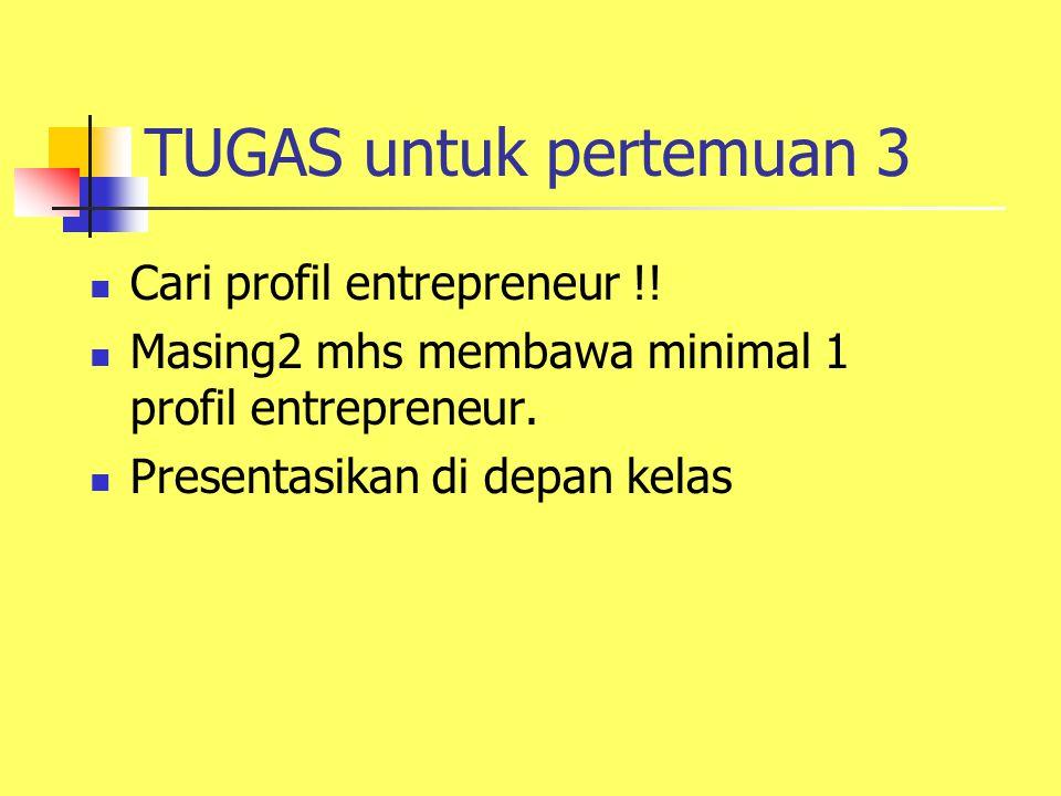TUGAS untuk pertemuan 3 Cari profil entrepreneur !! Masing2 mhs membawa minimal 1 profil entrepreneur. Presentasikan di depan kelas