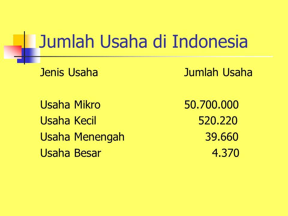 Jumlah Usaha di Indonesia Jenis UsahaJumlah Usaha Usaha Mikro50.700.000 Usaha Kecil 520.220 Usaha Menengah 39.660 Usaha Besar 4.370
