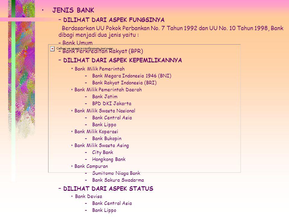 JENIS BANK – DILIHAT DARI ASPEK FUNGSINYA Berdasarkan UU Pokok Perbankan No.